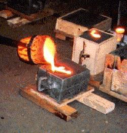 pouring the molten iron